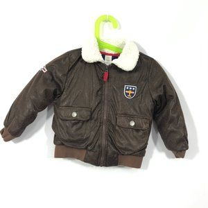 5-6, Brown London Fog Little//Big Boys Faux Leather Aviator Style Outerwear Jacket